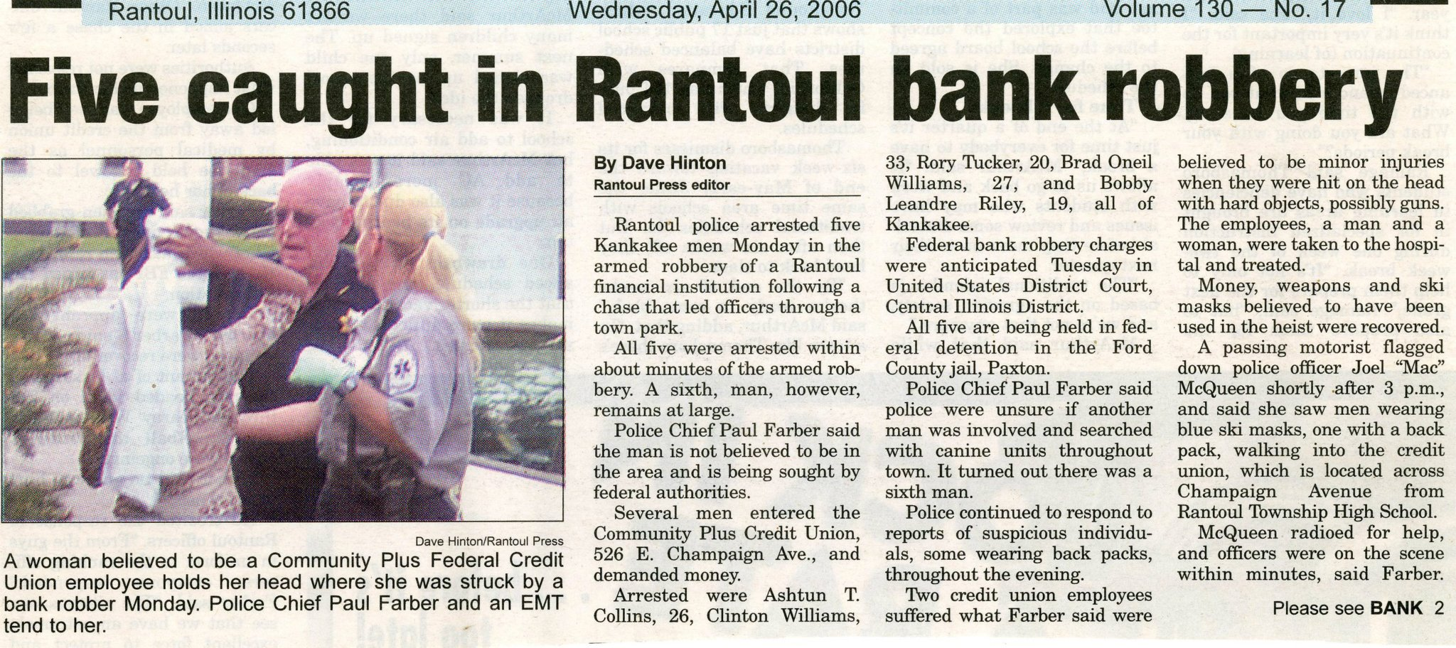 articles approximately bank robbery